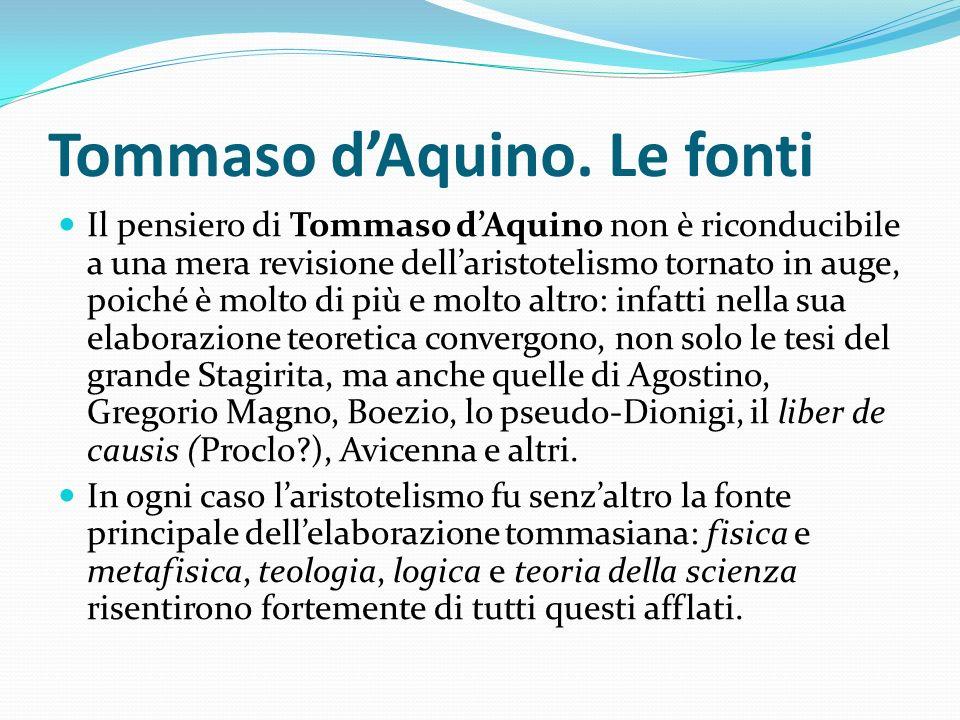 Tommaso d'Aquino. Le fonti