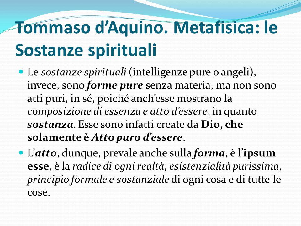 Tommaso d'Aquino. Metafisica: le Sostanze spirituali