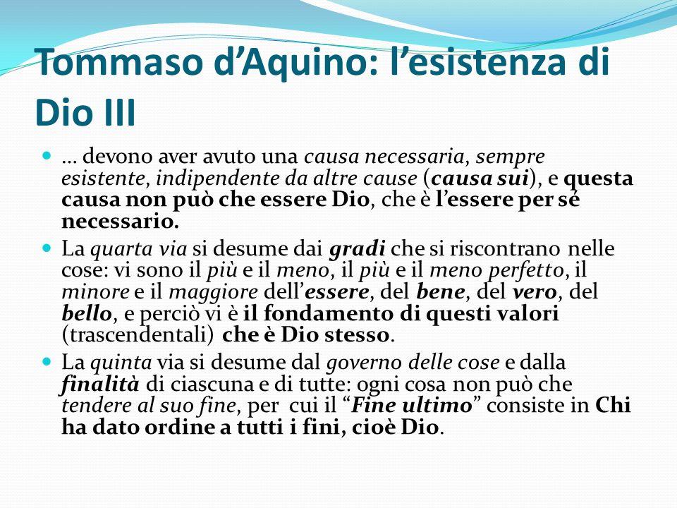 Tommaso d'Aquino: l'esistenza di Dio III