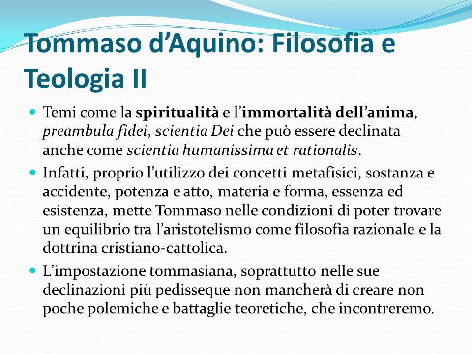 Tommaso d'Aquino: Filosofia e Teologia II
