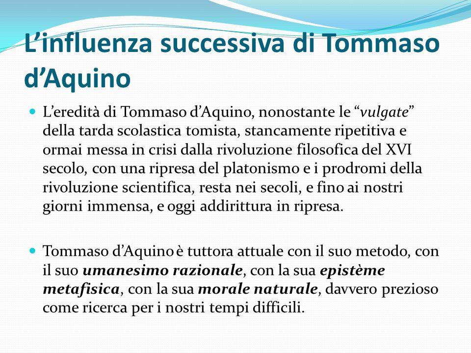 L'influenza successiva di Tommaso d'Aquino