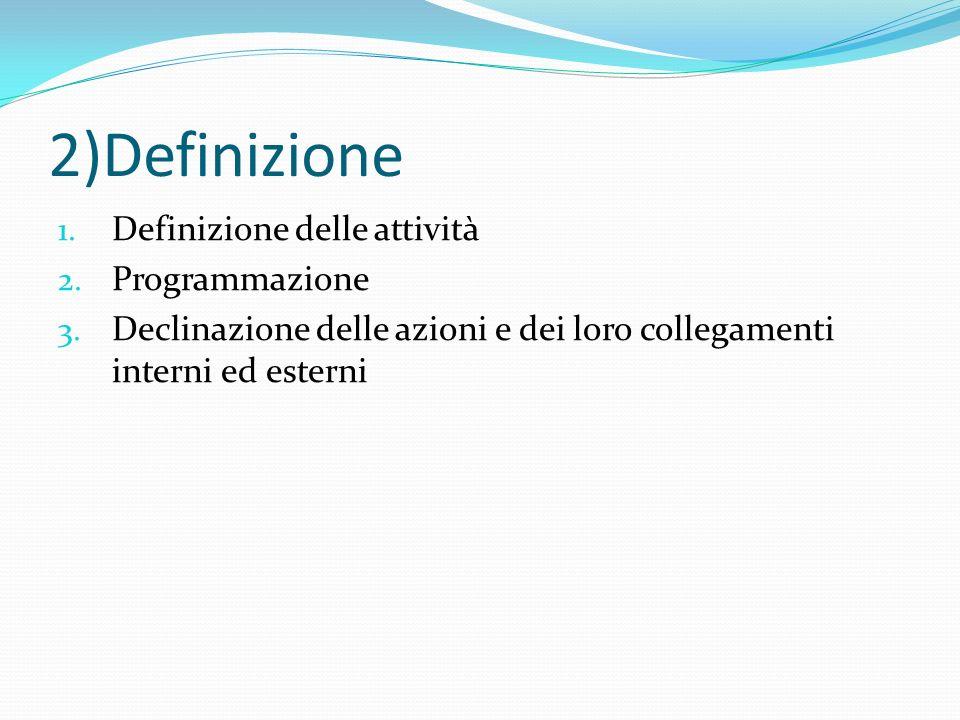 2)Definizione Definizione delle attività Programmazione