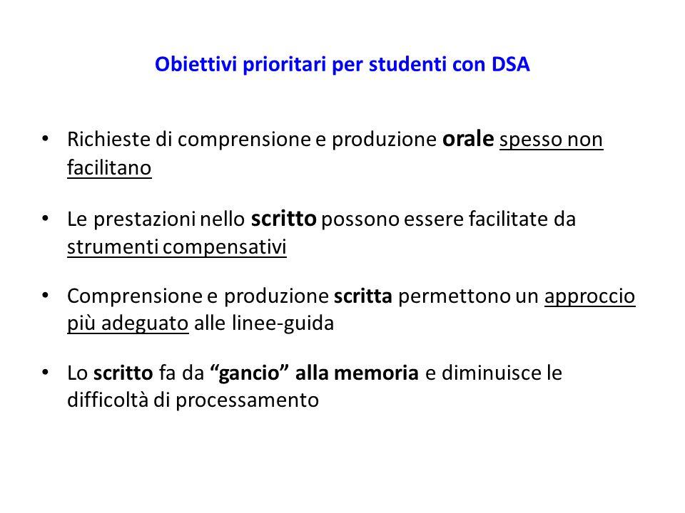 Obiettivi prioritari per studenti con DSA