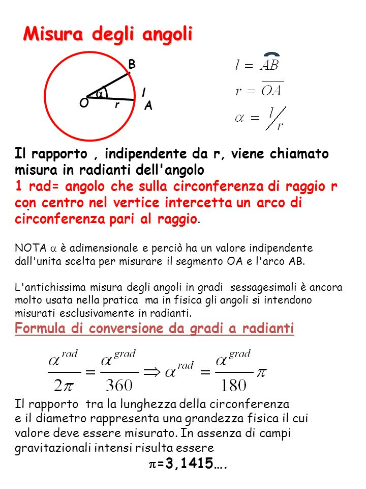 Misura degli angoli A. B. l. a. O. r. Il rapporto , indipendente da r, viene chiamato misura in radianti dell angolo.