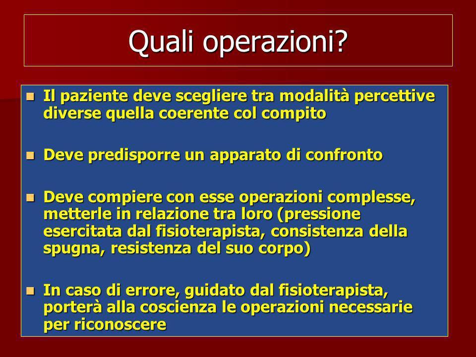 Quali operazioni Il paziente deve scegliere tra modalità percettive diverse quella coerente col compito.