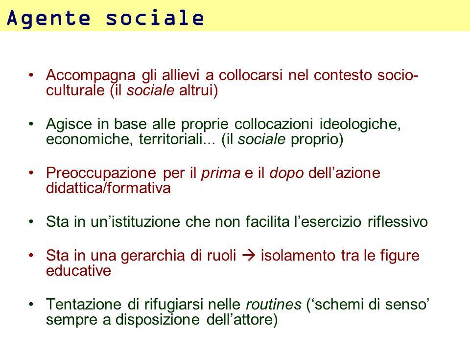 Agente sociale Accompagna gli allievi a collocarsi nel contesto socio-culturale (il sociale altrui)