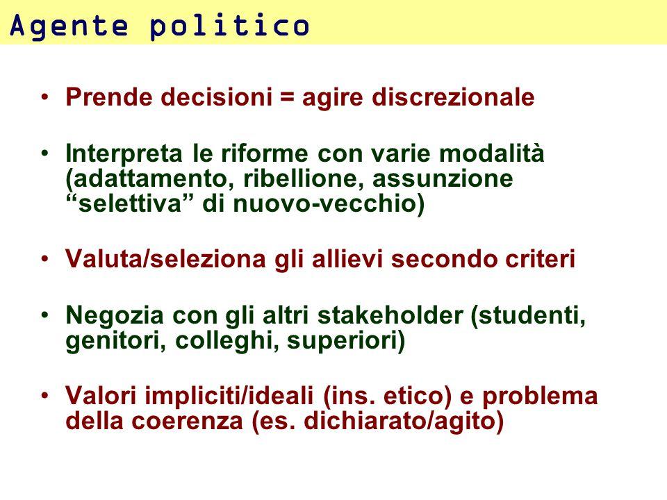 Agente politico Prende decisioni = agire discrezionale
