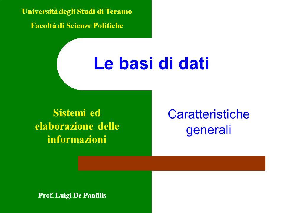 Le basi di dati Caratteristiche generali