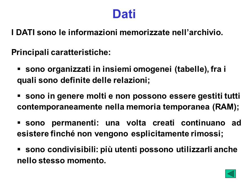 Dati I DATI sono le informazioni memorizzate nell'archivio.