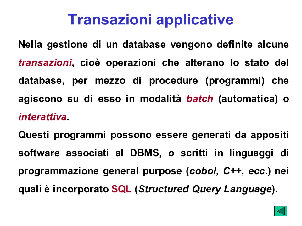 Transazioni applicative