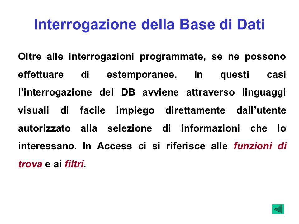 Interrogazione della Base di Dati