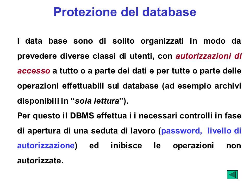 Protezione del database