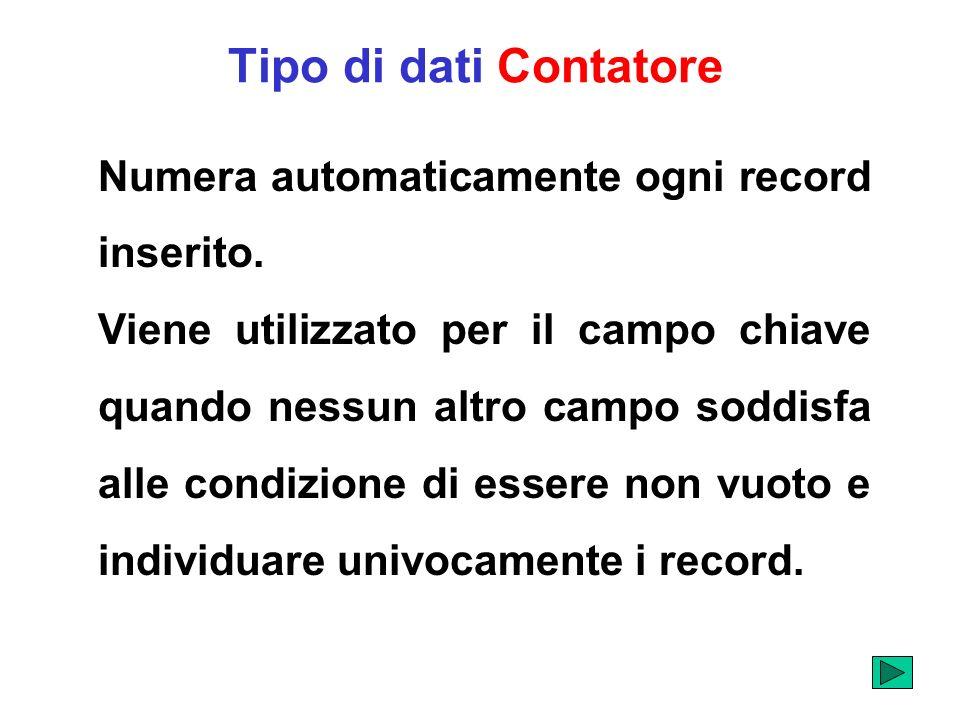 Tipo di dati Contatore Numera automaticamente ogni record inserito.