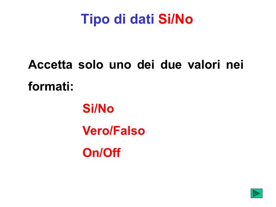Tipo di dati Si/No Accetta solo uno dei due valori nei formati: Si/No