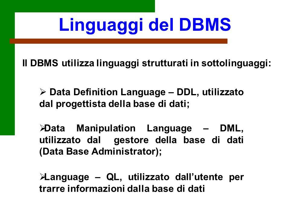 Linguaggi del DBMS Il DBMS utilizza linguaggi strutturati in sottolinguaggi: