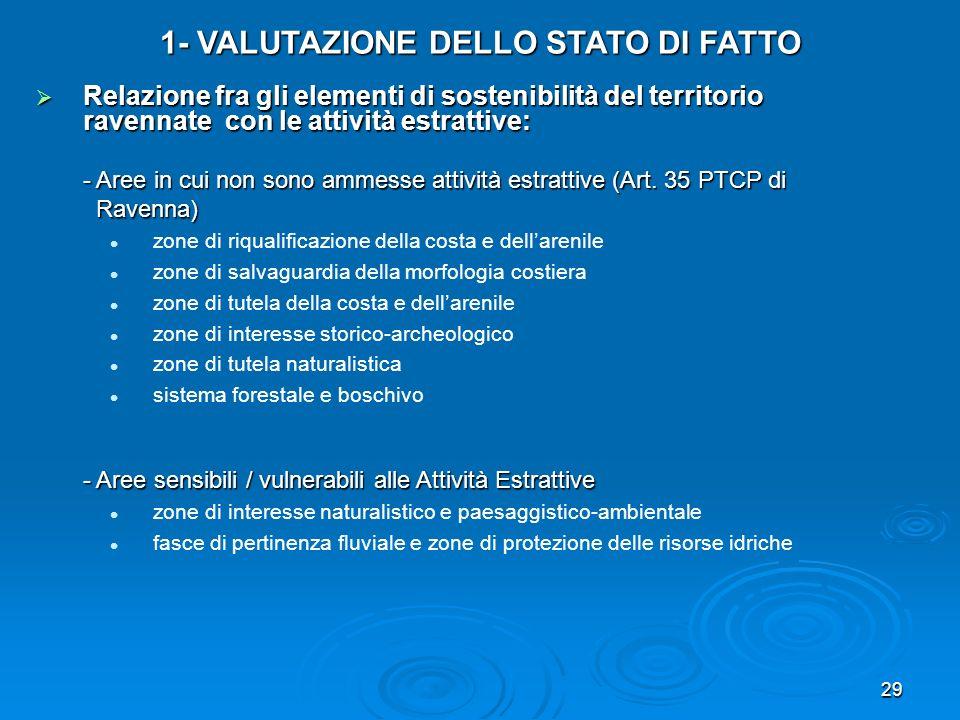 1- VALUTAZIONE DELLO STATO DI FATTO
