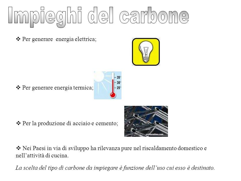 Impieghi del carbone Per generare energia elettrica;