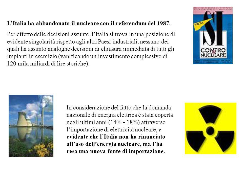 L'Italia ha abbandonato il nucleare con il referendum del 1987.