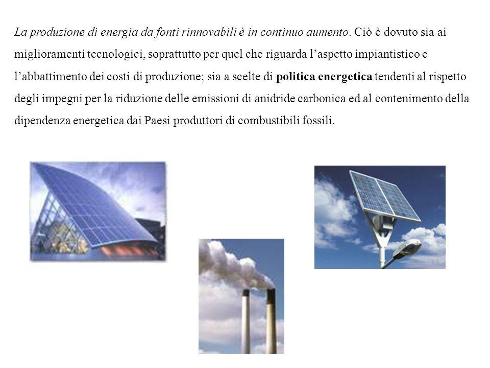 La produzione di energia da fonti rinnovabili è in continuo aumento
