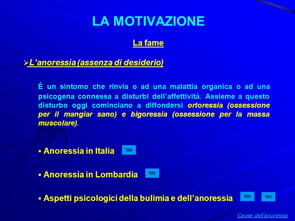 LA MOTIVAZIONE La fame L'anoressia (assenza di desiderio)