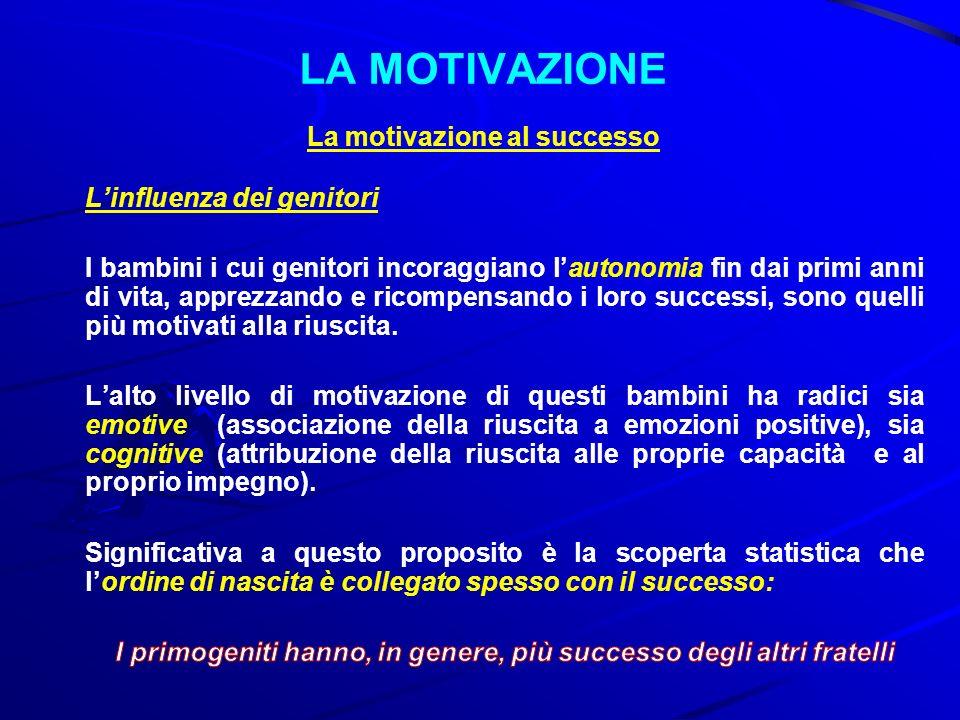 LA MOTIVAZIONE La motivazione al successo L'influenza dei genitori