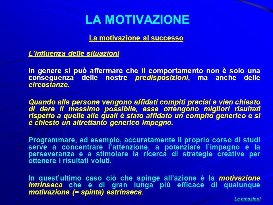 La motivazione al successo