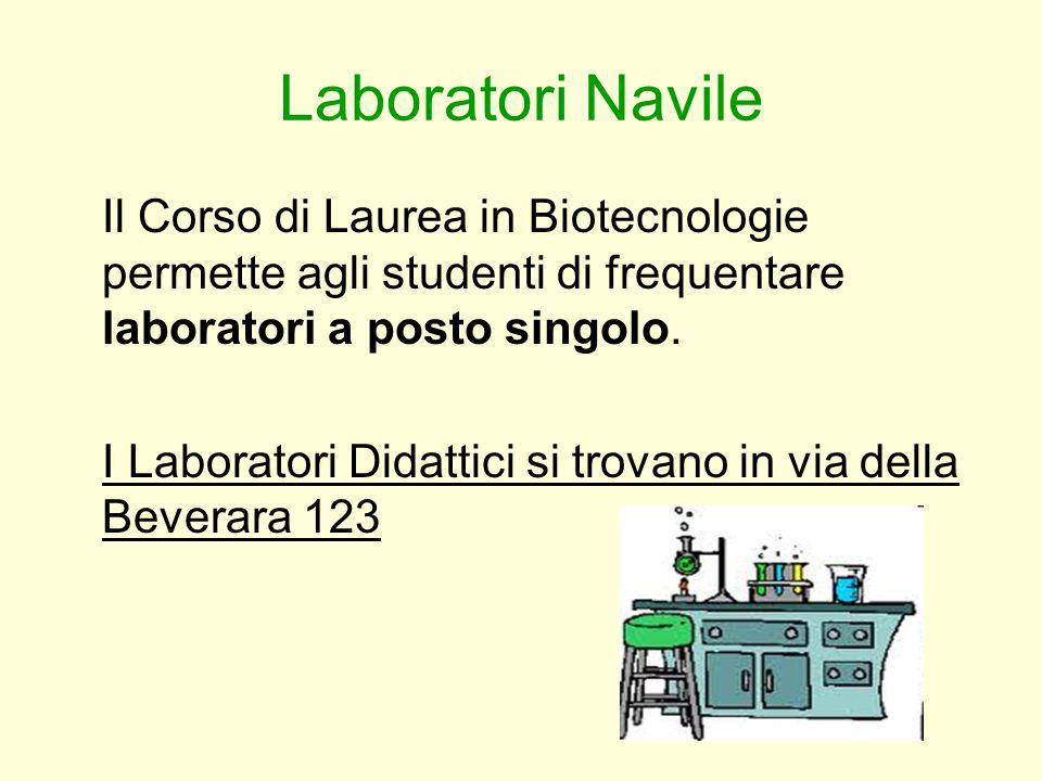 Laboratori Navile Il Corso di Laurea in Biotecnologie permette agli studenti di frequentare laboratori a posto singolo.
