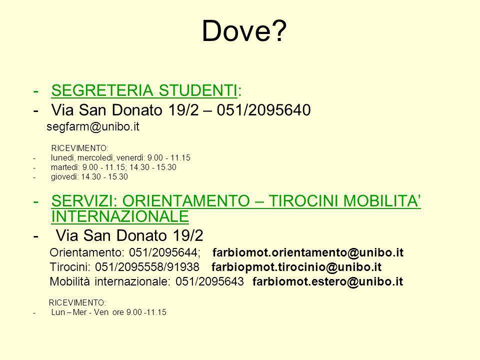 Dove SEGRETERIA STUDENTI: Via San Donato 19/2 – 051/2095640