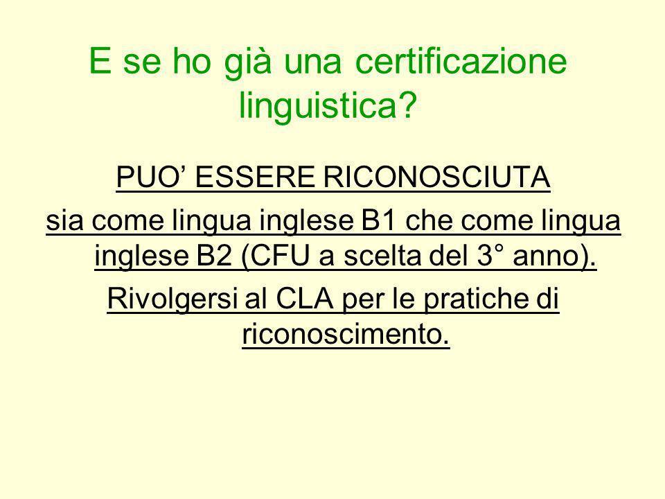 E se ho già una certificazione linguistica