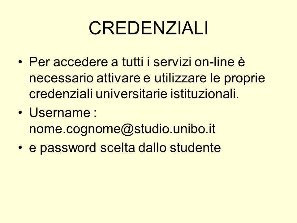 CREDENZIALI Per accedere a tutti i servizi on-line è necessario attivare e utilizzare le proprie credenziali universitarie istituzionali.