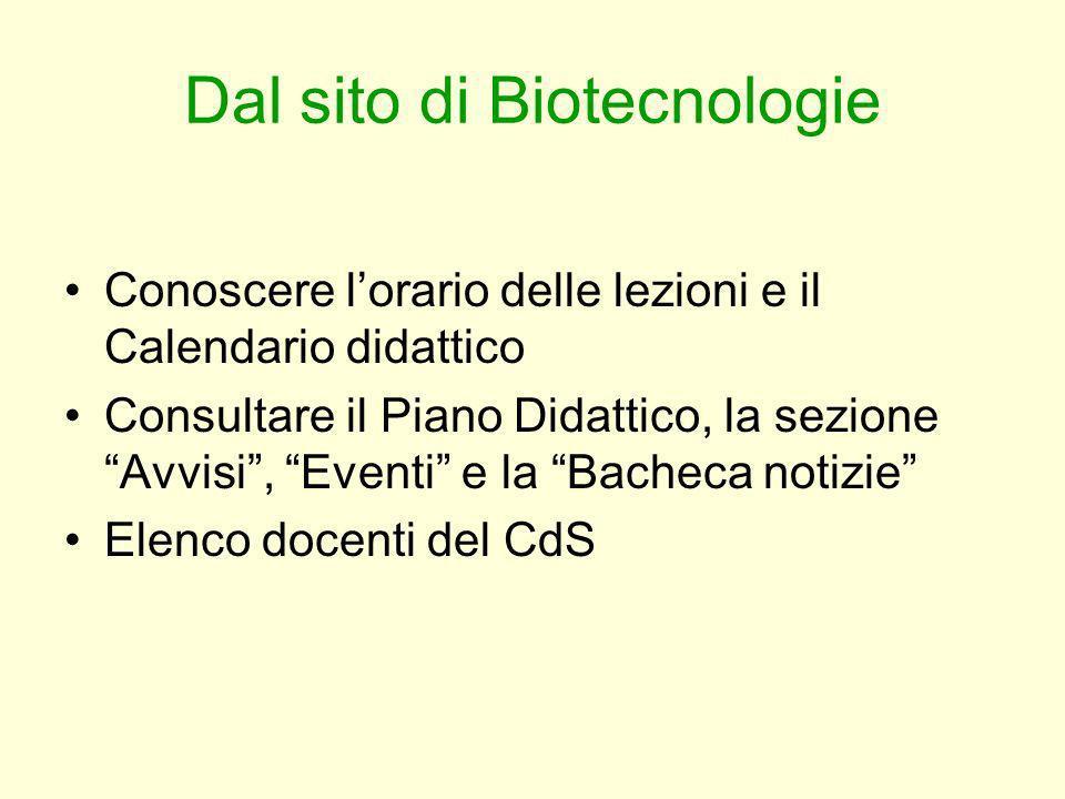 Dal sito di Biotecnologie