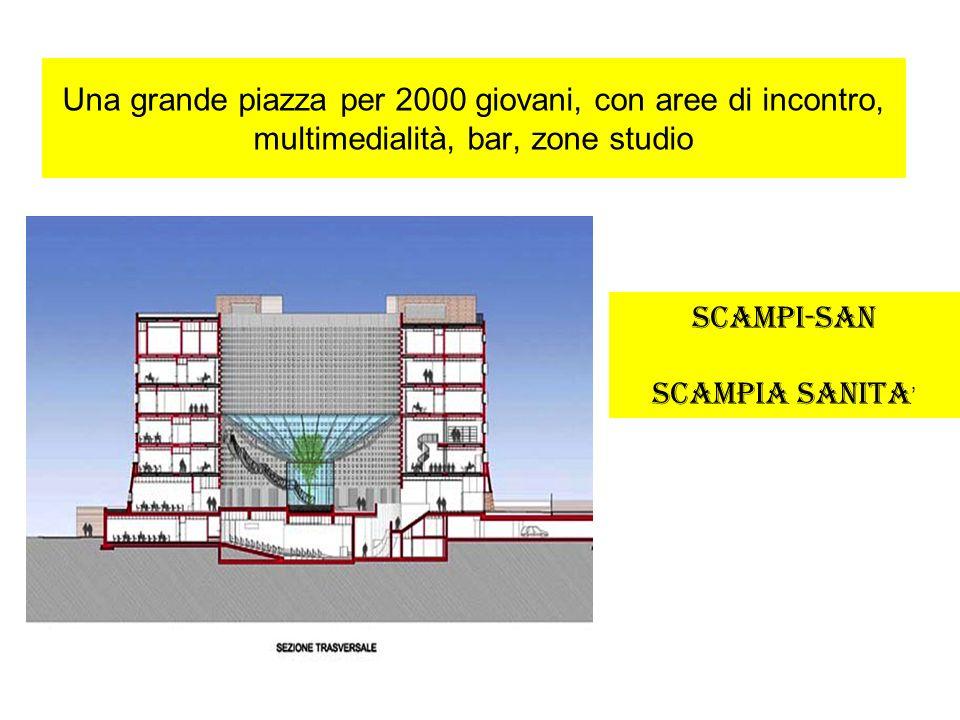 Una grande piazza per 2000 giovani, con aree di incontro, multimedialità, bar, zone studio