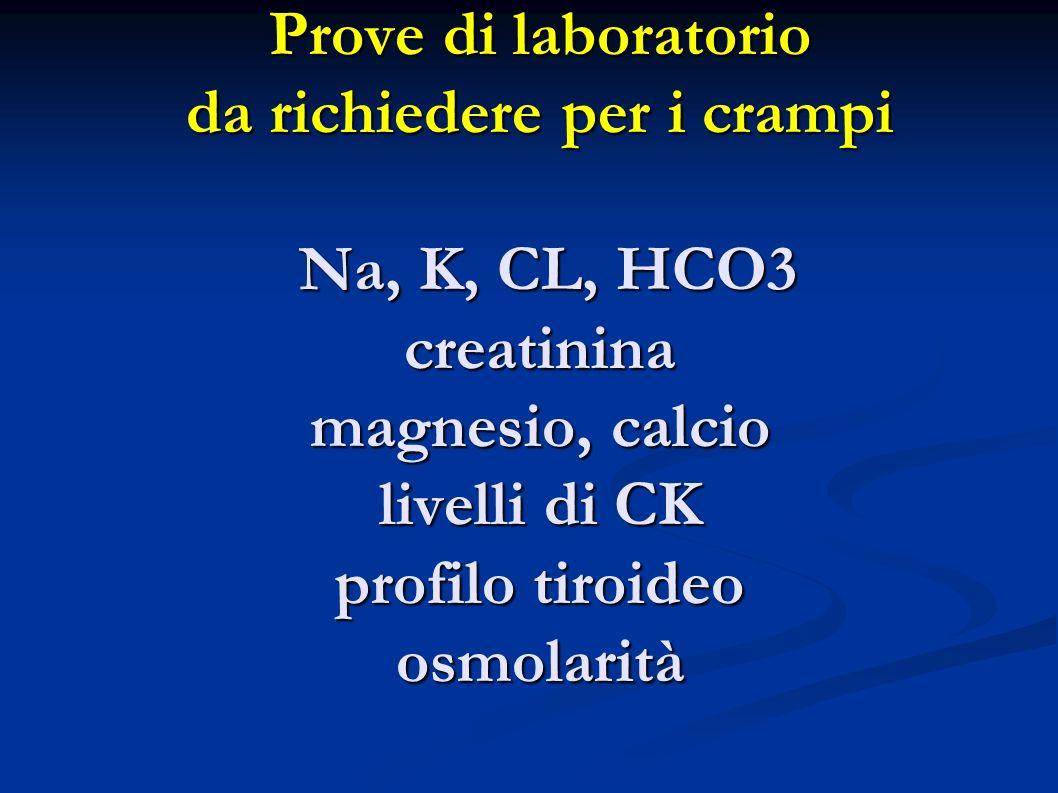 Prove di laboratorio da richiedere per i crampi Na, K, CL, HCO3 creatinina magnesio, calcio livelli di CK profilo tiroideo osmolarità