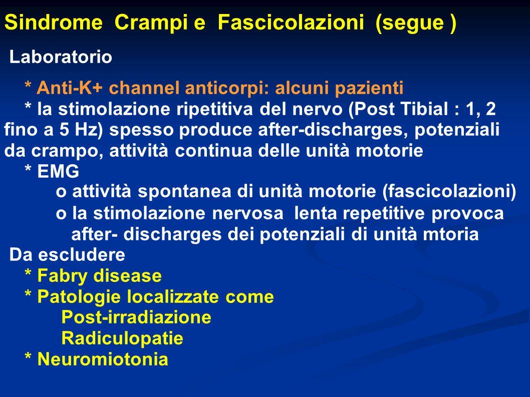 Sindrome Crampi e Fascicolazioni (segue )