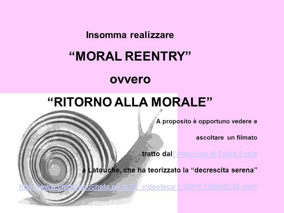 MORAL REENTRY ovvero RITORNO ALLA MORALE