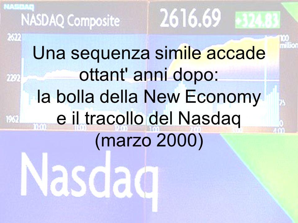 Una sequenza simile accade ottant anni dopo: la bolla della New Economy e il tracollo del Nasdaq (marzo 2000)