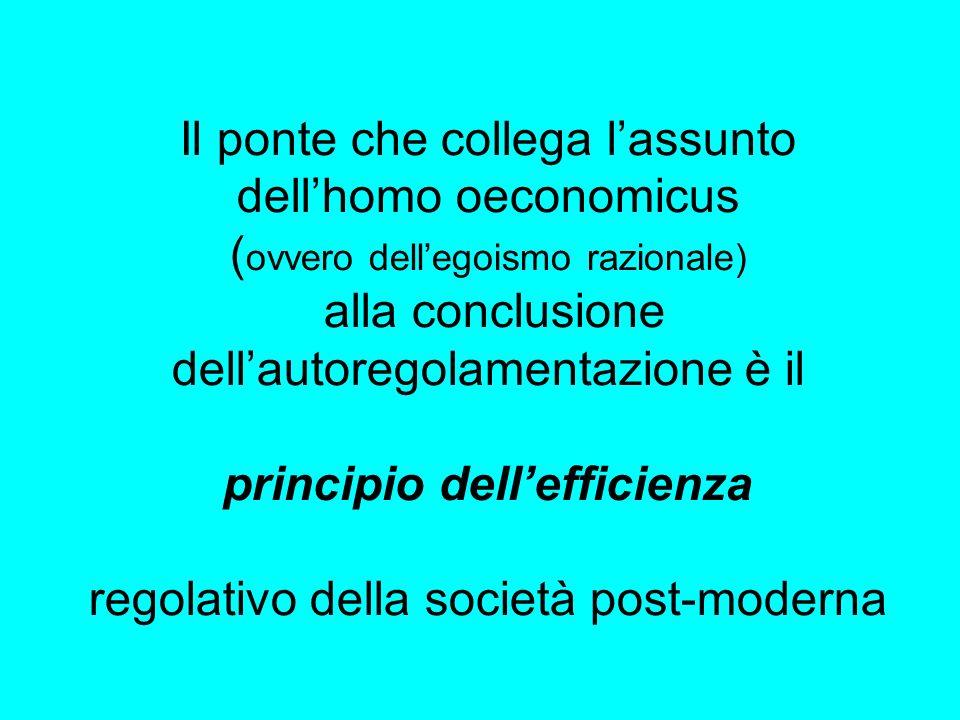 Il ponte che collega l'assunto dell'homo oeconomicus (ovvero dell'egoismo razionale) alla conclusione dell'autoregolamentazione è il principio dell'efficienza regolativo della società post-moderna