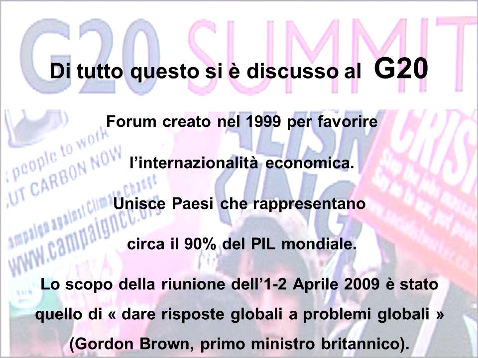 Di tutto questo si è discusso al G20