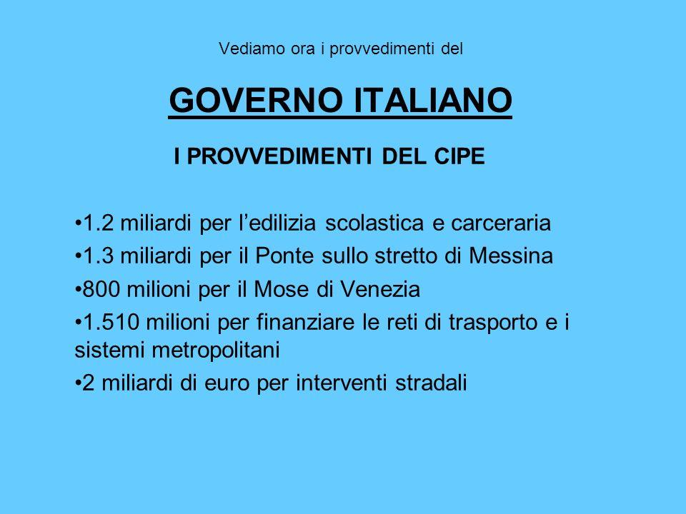 Vediamo ora i provvedimenti del GOVERNO ITALIANO