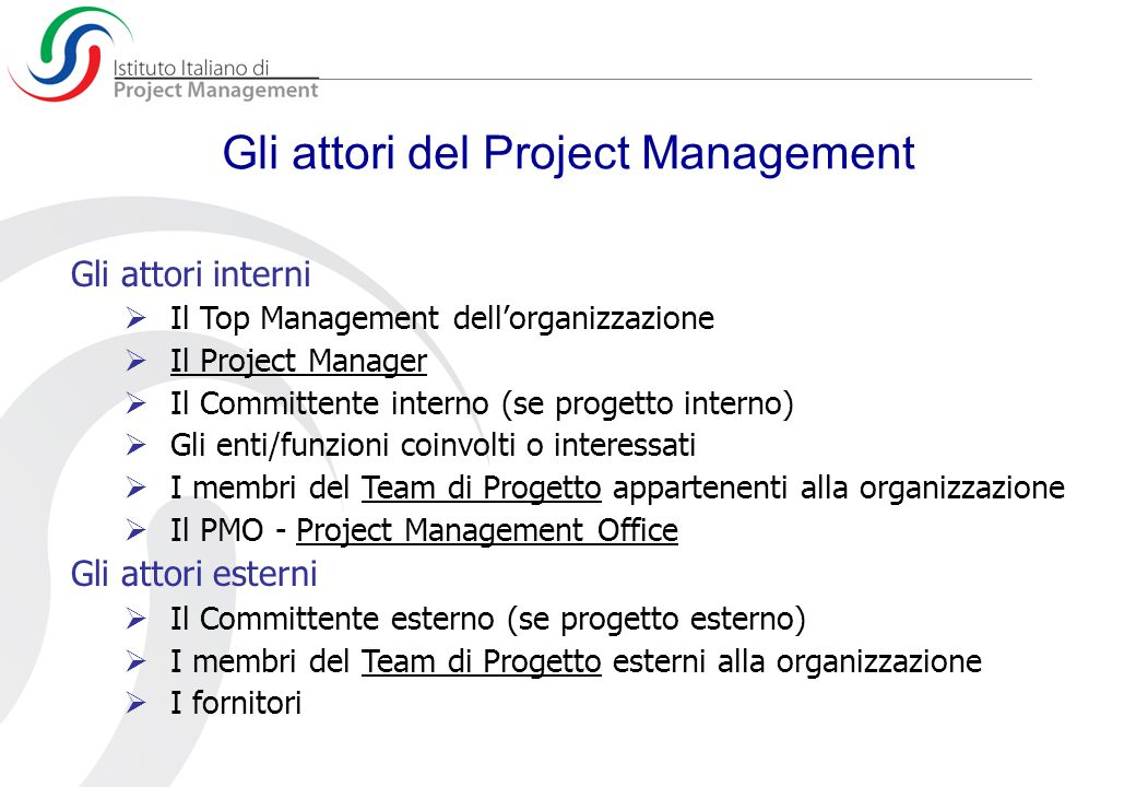 Gli attori del Project Management