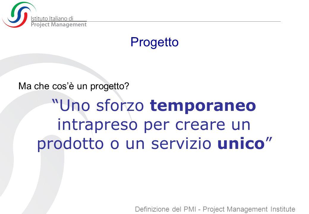 Progetto Ma che cos'è un progetto Uno sforzo temporaneo intrapreso per creare un prodotto o un servizio unico