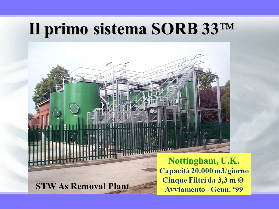 Il primo sistema SORB 33 Nottingham, U.K. STW As Removal Plant