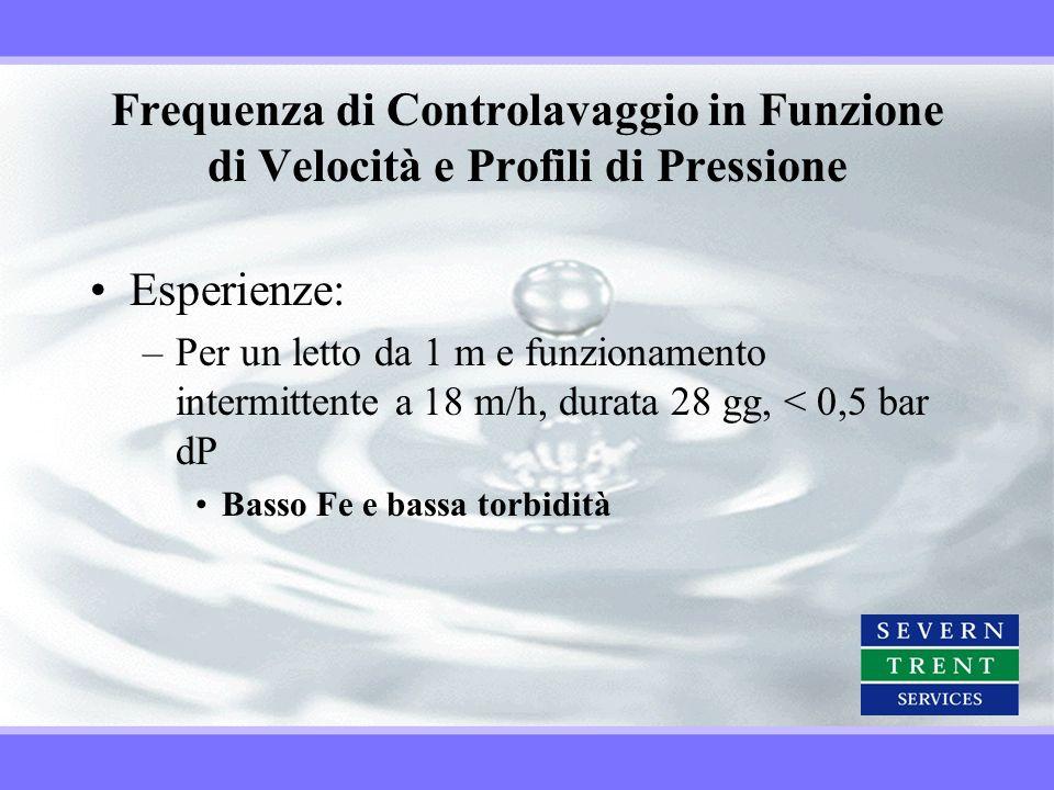 Frequenza di Controlavaggio in Funzione di Velocità e Profili di Pressione