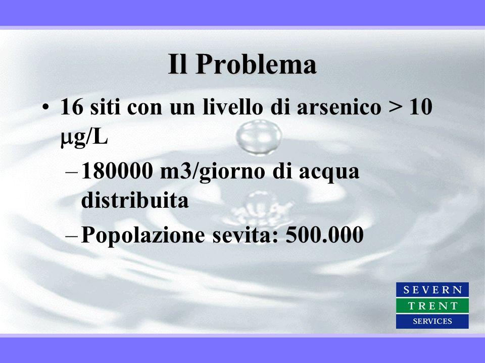 Il Problema 16 siti con un livello di arsenico > 10 g/L