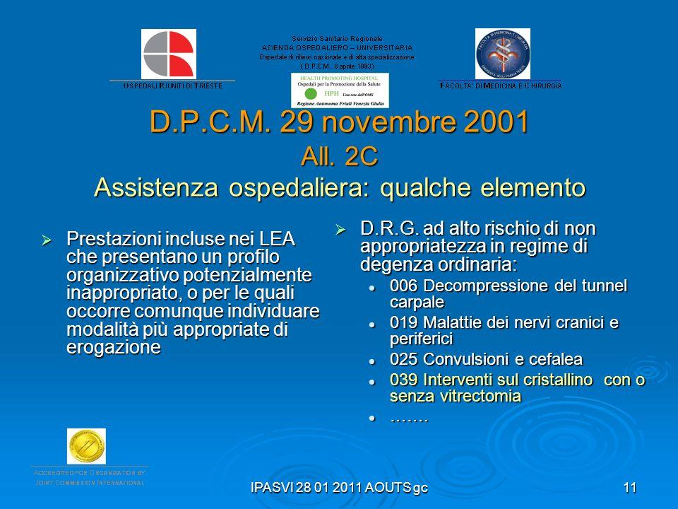 D.P.C.M. 29 novembre 2001 All. 2C Assistenza ospedaliera: qualche elemento