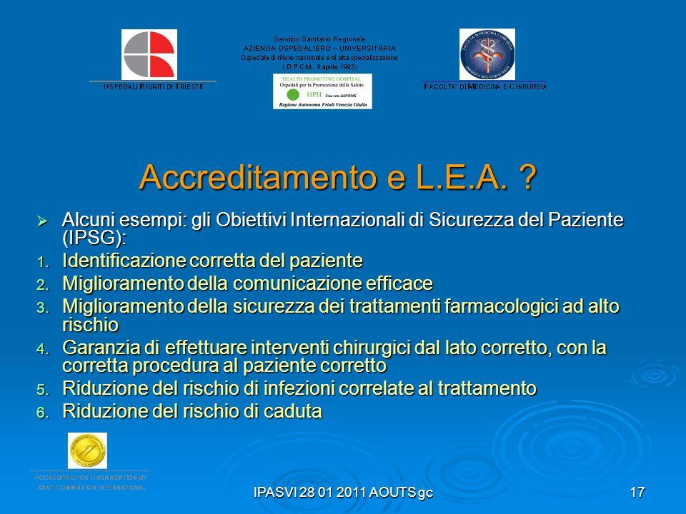 Accreditamento e L.E.A. Alcuni esempi: gli Obiettivi Internazionali di Sicurezza del Paziente (IPSG):