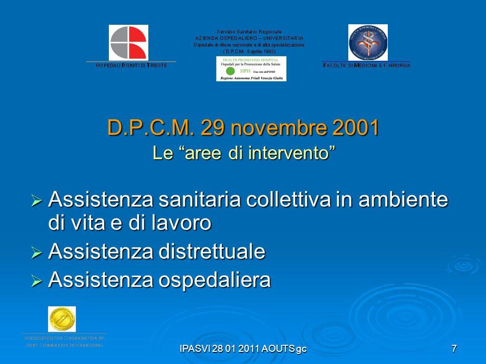 D.P.C.M. 29 novembre 2001 Le aree di intervento
