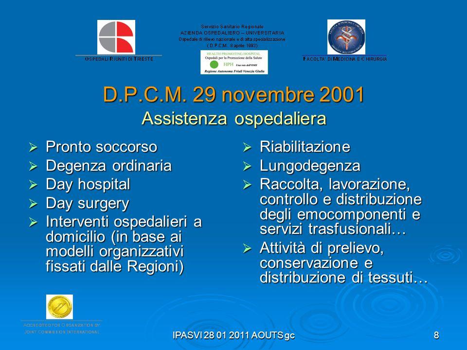 D.P.C.M. 29 novembre 2001 Assistenza ospedaliera