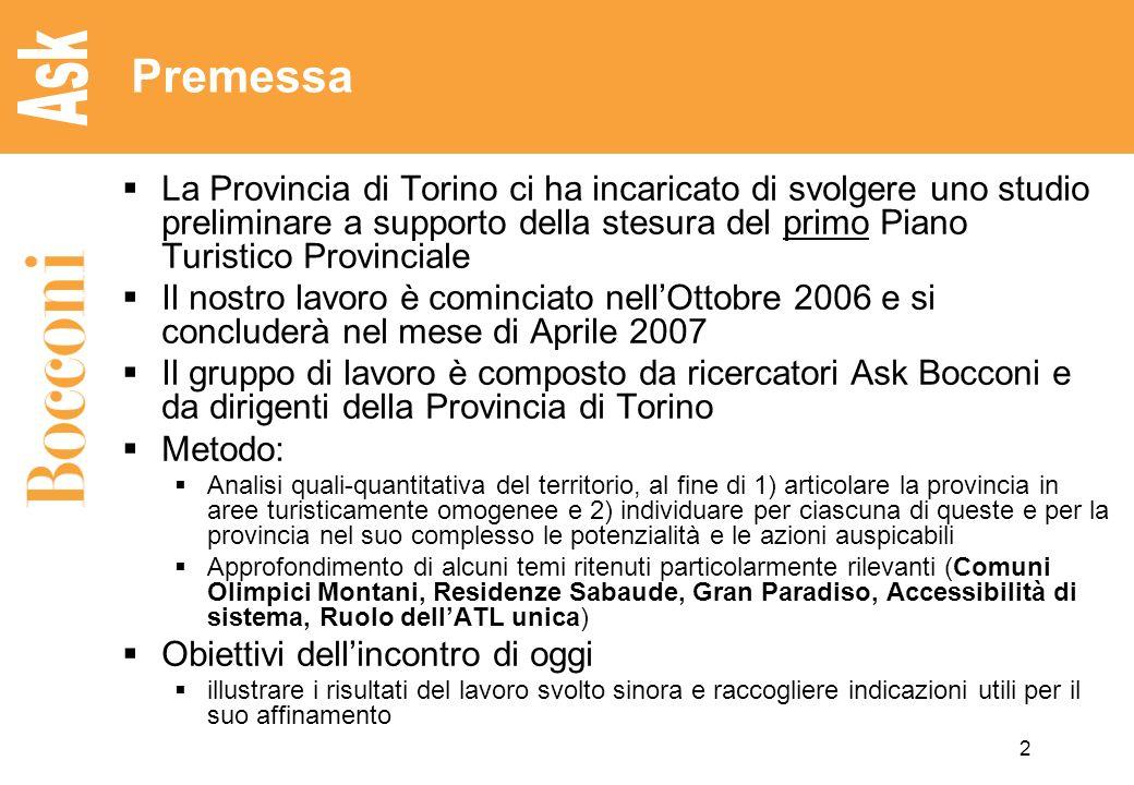 Premessa La Provincia di Torino ci ha incaricato di svolgere uno studio preliminare a supporto della stesura del primo Piano Turistico Provinciale.
