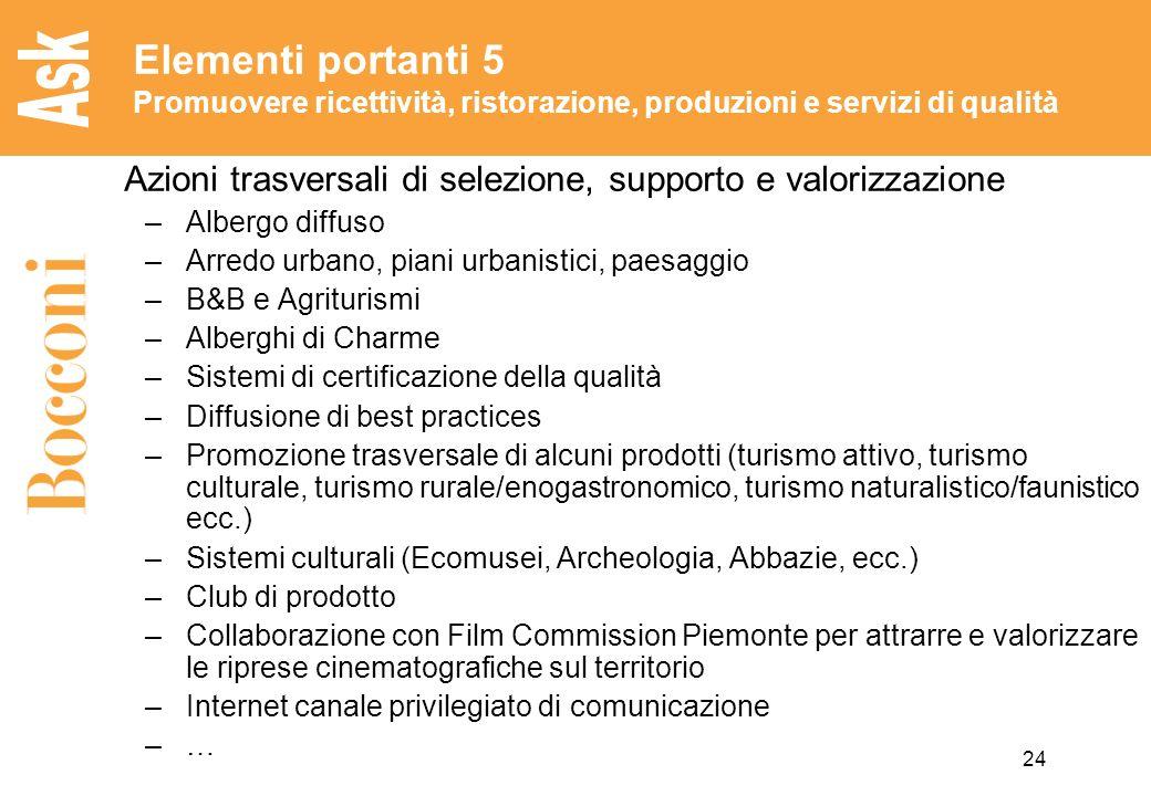 Elementi portanti 5 Promuovere ricettività, ristorazione, produzioni e servizi di qualità